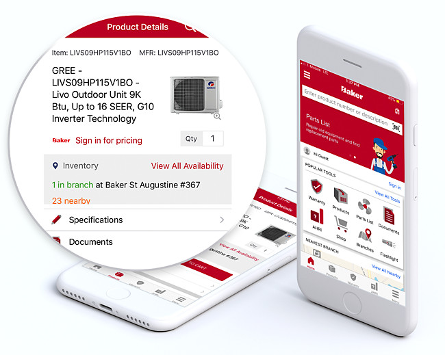 Baker Distributing HVAC/R Contractor Assist Mobile App