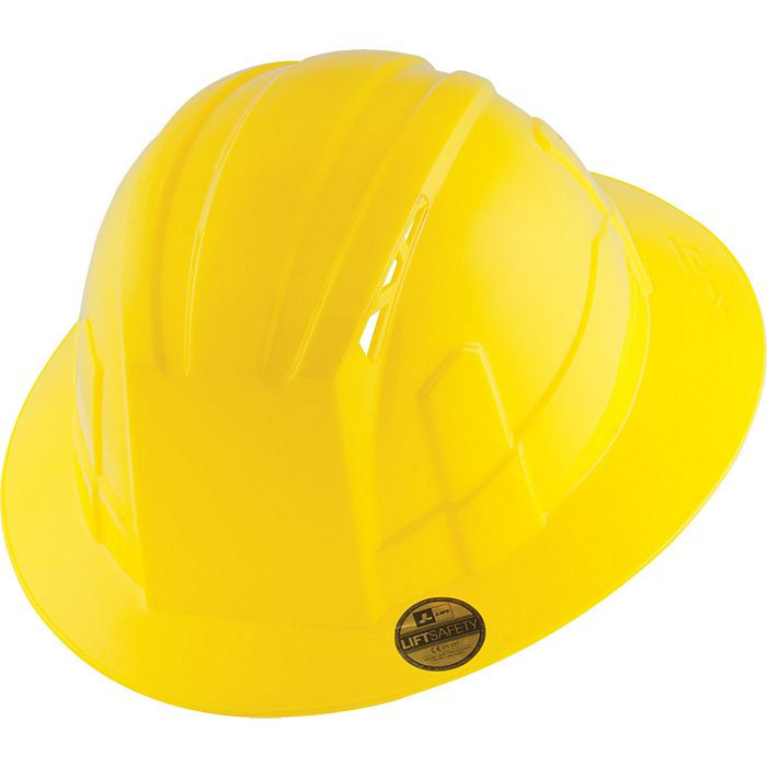 Lift Safety - HVF-1LC - Vantis Vfb Hard Hat (Yellow) - Full Brim- Type 1,  Class C
