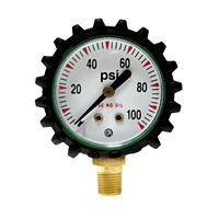 "Uniweld - G49D - 1 1/2"" 100 PSI Oxygen Replacement Gauge with Protective Rubber Boots"