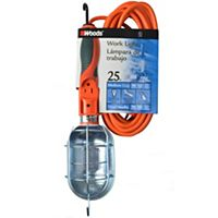 Coleman Cable - Woods - 691 - 16/3 25' SJTW Orange Trouble Light 75W With Outlet and Metal Guard